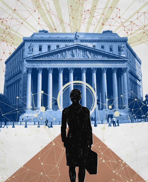 An illustration showing a silhouette of a lawyer walking towards a courthouse, surrounded by data clouds in different colors